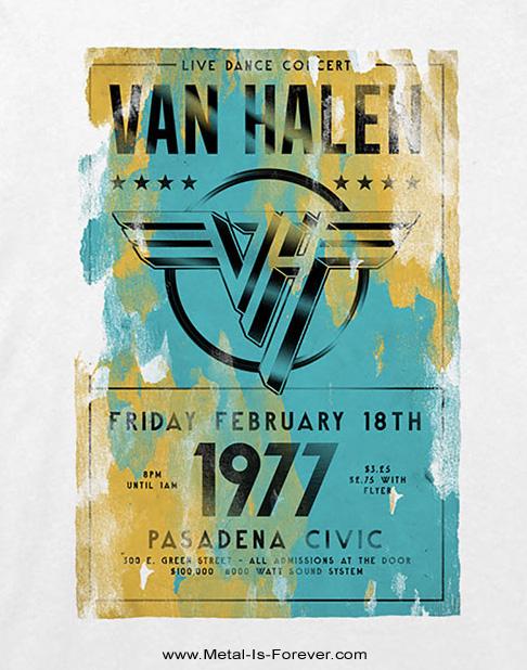VAN HALEN -ヴァン・ヘイレン- PASADENA '77  「1977年・パサデナ・ツアー」 Tシャツ(白)