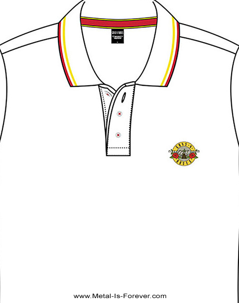 GUNS N' ROSES (ガンズ・アンド・ローゼズ) CLASSIC LOGO 「クラシック・ロゴ」 ポロシャツ(白)