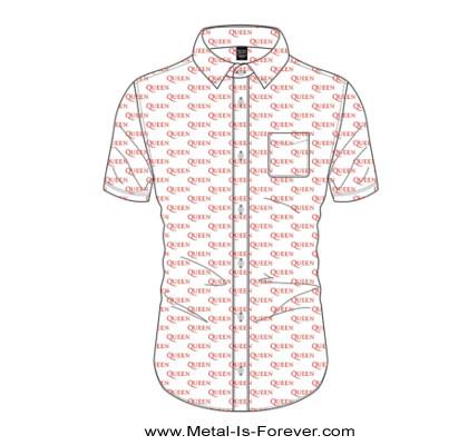 QUEEN (クイーン) LOGO PATTERN 「ロゴ・パターン」 カジュアルシャツ(白)
