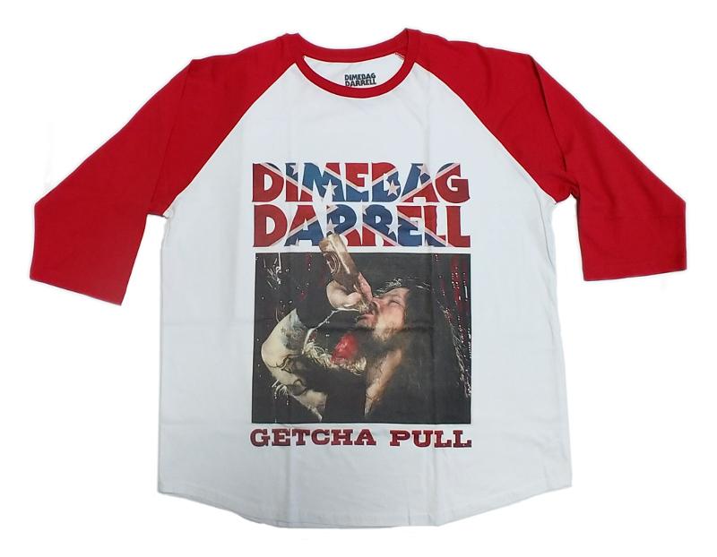 【在庫有り商品】DIMEBAG DARRELL -ダイムバッグ・ダレル- GETCHA PULL 「ゲッチャ・プル」 ラグラン七分袖Tシャツ XXLサイズ