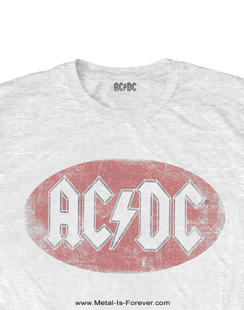 AC/DC -エーシー・ディーシー- OVAL LOGO VINTAGE 「オーバル・ロゴ・ヴィンテージ」 Tシャツ(白)