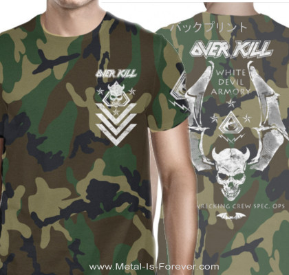 OVERKILL -オーヴァーキル- WHITE DEVIL ARMORY 「ホワイト・デビル・アーモリー」 Tシャツ(迷彩)