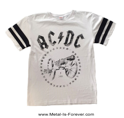 AC/DC (エーシー・ディーシー) FOR THOSE ABOUT TO ROCK (WE SALUTE YOU) 「悪魔の招待状」 アメリカンフットボール Tシャツ(白)
