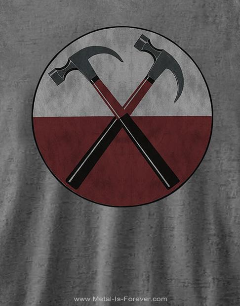 PINK FLOYD (ピンク・フロイド) THE WALL HAMMERS 「ザ・ウォール・ハンマーズ」 バーンアウト レディースTシャツ(チャコール・グレー)