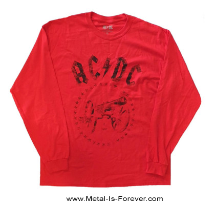 AC/DC (エーシー・ディーシー) FOR THOSE ABOUT TO ROCK (WE SALUTE YOU) 「悪魔の招待状」 長袖Tシャツ(赤)