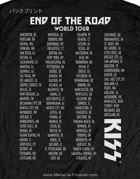 KISS (キッス) END OF THE ROAD TOUR 「エンド・オブ・ザ・ロード・ツアー」 Tシャツ