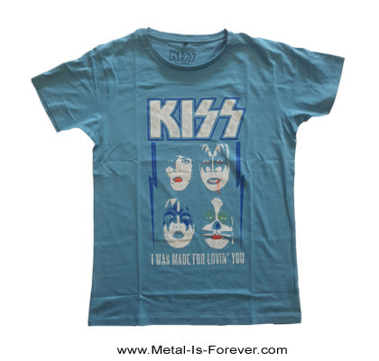 KISS (キッス) I WAS MADE FOR LOVIN' YOU 「ラヴィン・ユー・ベイビー」 レディースTシャツ(青)