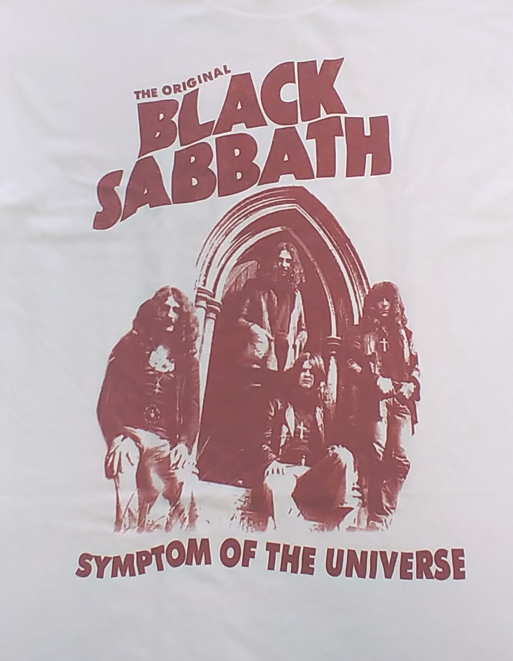 【在庫有り商品】BLACK SABBATH -ブラック・サバス- SYMPTOM OF THE UNIVERSE 「悪魔のしるし」 Tシャツ (白) Lサイズ