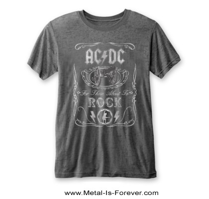 AC/DC (エーシー・ディーシー) FOR THOSE ABOUT TO ROCK (WE SALUTE YOU) 「悪魔の招待状」 バーンアウト Tシャツ(チャコール・グレー)