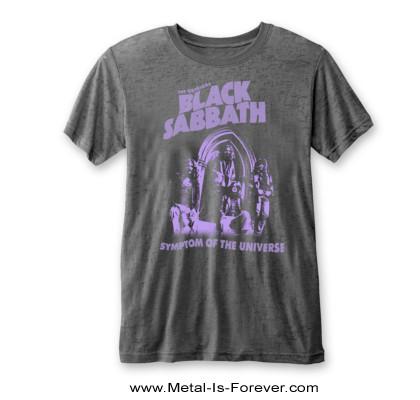 BLACK SABBATH (ブラック・サバス) SYMPTOM OF THE UNIVERSE 「悪魔のしるし」 バーンアウト Tシャツ(チャコール・グレー)