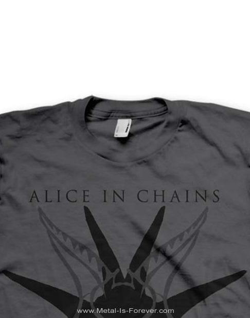 ALICE IN CHAINS (アリス・イン・チェインズ) BLACK SKULL 「ブラック・スカル」 Tシャツ(チャコールグレー)