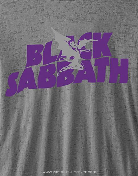 BLACK SABBATH (ブラック・サバス) LOGO 「ロゴ」 バーンアウト Tシャツ(チャコール・グレー)