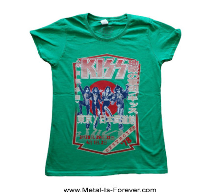 KISS (キッス) DESTROYER TOUR '78 「地獄の軍団・1978年ツアー」 レディースTシャツ(緑)