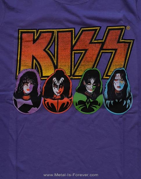 KISS (キッス) FACES & ICONS 「フェイス・アンド・アイコン」  レディースTシャツ(紫)