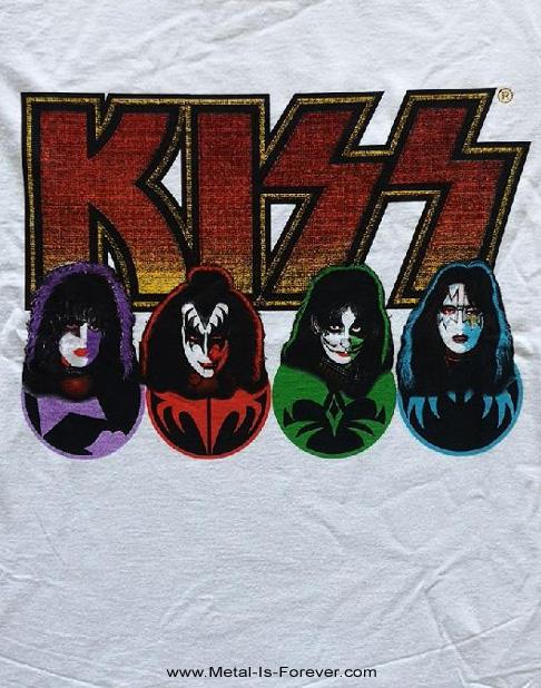 KISS (キッス) FACES & ICONS 「フェイス・アンド・アイコン」  レディースTシャツ(白)