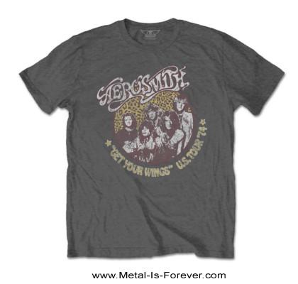 AEROSMITH (エアロスミス) GET YOUR WINGS 「飛べ!エアロスミス」 1974年USツアー Tシャツ(チャコールグレー)