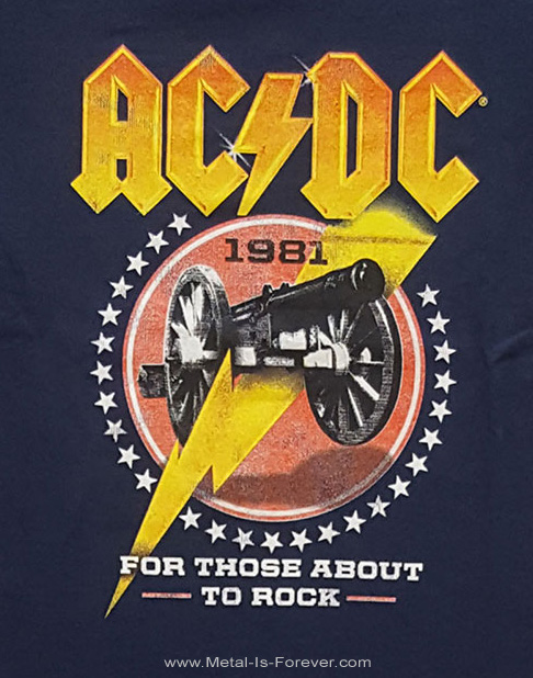 AC/DC (エーシー・ディーシー) FOR THOSE ABOUT TO ROCK (WE SALUTE YOU) '81 「悪魔の招待状 '81」 キッズ Tシャツ(ネイビー・ブルー)