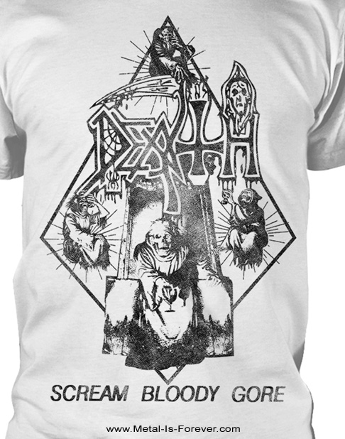 DEATH (デス) SCREAM BLOODY GORE 「スクリーム・ブラッディ・ゴア」 Tシャツ(ヴィンテージ・ウォッシュ/白)