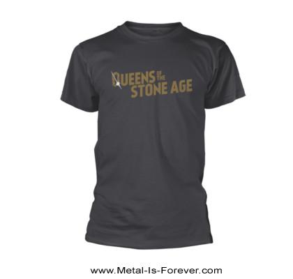 QUEENS OF THE STONE AGE (クイーンズ・オブ・ザ・ストーン・エイジ) TEXT LOGO 「テキスト・ロゴ」 メタリック Tシャツ(チャコールグレー)