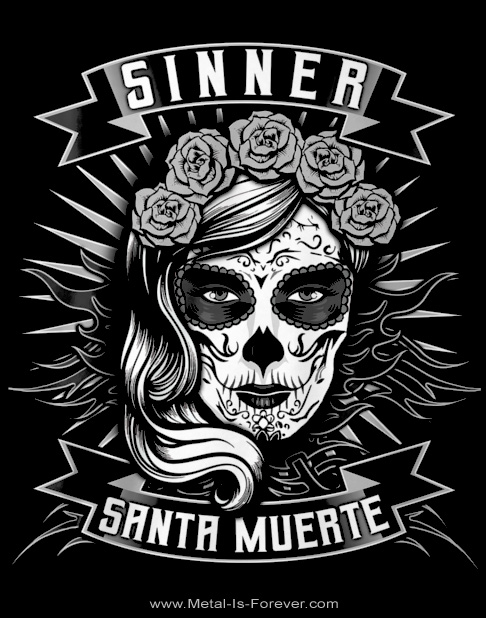 SINNER -シナー- SANTA MUERTE 「サンタ・ムエルテ」 モノトーン Tシャツ