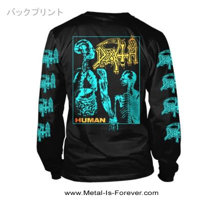 DEATH (デス) HUMAN 「ヒューマン」 長袖Tシャツ(ブルー/イエロー、チャコールグレー生地)