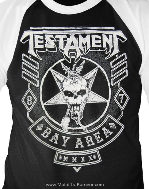 TESTAMENT (テスタメント) BAY AREA 87 「ベイ・エリア・87」 ラグラン七分袖Tシャツ(黒)