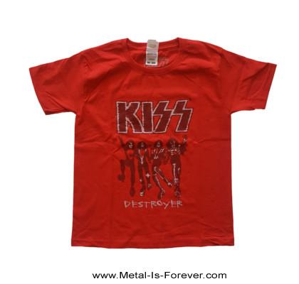 KISS (キッス) DESTROYER 「地獄の軍団」 スケッチ キッズTシャツ(赤)
