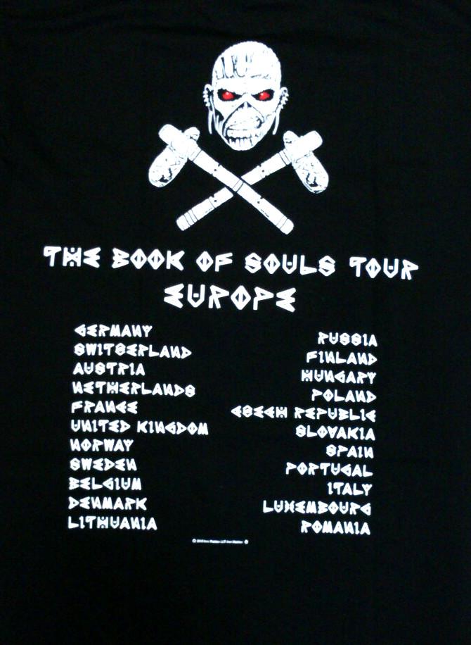 【在庫有り商品】IRON MAIDEN -アイアン・メイデン- THE BOOK OF SOULS「魂の書~ザ・ブック・オブ・ソウルズ~」2016年ヨーロッパ・ツアーTシャツ Mサイズ【訳あり商品】