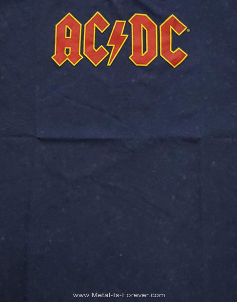 AC/DC (エーシー・ディーシー) LOGO 「ロゴ」 スノーウォッシュ Tシャツ(ネイビー・ブルー)