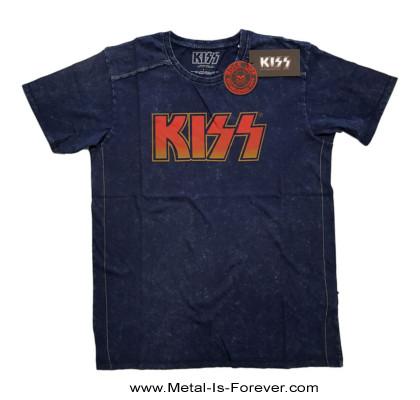 KISS (キッス) LOGO 「ロゴ」 スノーウォッシュ Tシャツ(ネイビー・ブルー)