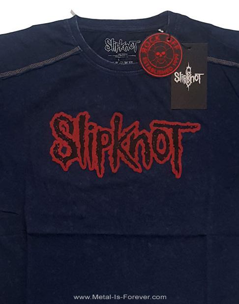 SLIPKNOT (スリップノット) LOGO 「ロゴ」 スノーウォッシュ Tシャツ(ネイビー・ブルー)