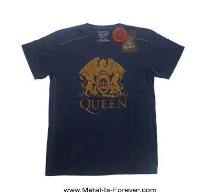 QUEEN (クイーン) CLASSIC CREST 「クラシック・クレスト」 スノーウォッシュ Tシャツ(ネイビー・ブルー)