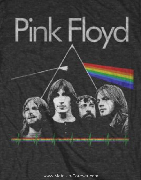 PINK FLOYD (ピンク・フロイド) THE DARK SIDE OF THE MOON 「狂気」 バンド&パルス Tシャツ(チャコールグレー)