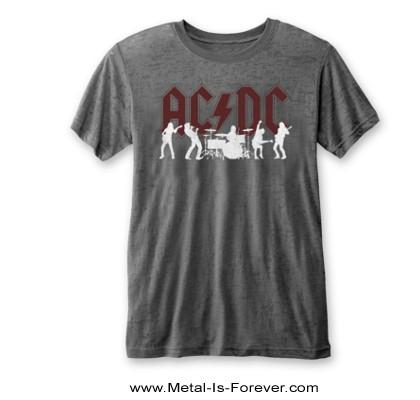AC/DC -エーシー・ディーシー- SILHOUETTES 「シルエット」 バーンアウト Tシャツ(チャコール・グレー)