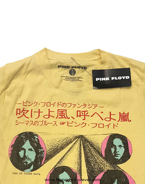 PINK FLOYD (ピンク・フロイド) ONE OF THESE DAYS 「吹けよ風、呼べよ嵐」 レディースTシャツ(黄色)