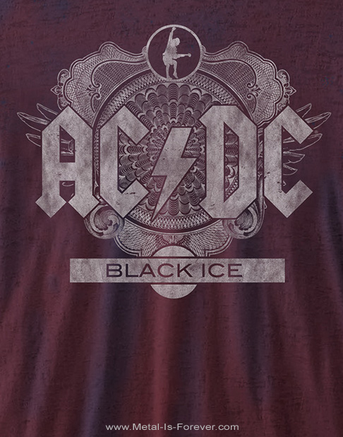 AC/DC -エーシー・ディーシー- BLACK ICE 「悪魔の氷」 バーンアウト Tシャツ(ネイビーブルー&レッド 2トーン)