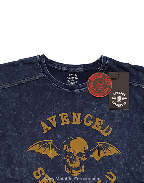 AVENGED SEVENFOLD (アヴェンジド・セヴンフォールド) CLASSIC DEATHBAT 「クラシック・デスバット」 スノーウォッシュ Tシャツ(ネイビー・ブルー)