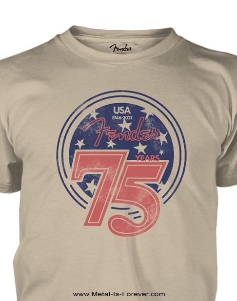 FENDER (フェンダー) STAR SPANGLED 「スター・スパンコール」75周年記念Tシャツ(サンド・カラー)
