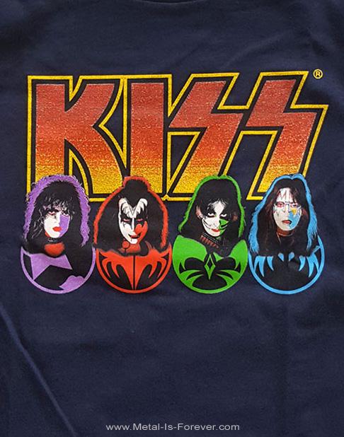 KISS (キッス) FACES & ICONS 「フェイス・アンド・アイコン」 キッズTシャツ(ネイビー・ブルー)