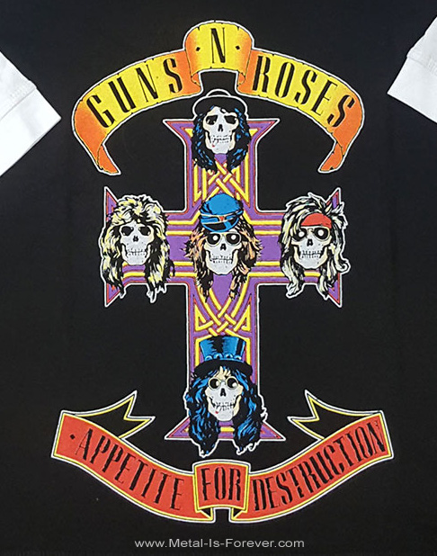GUNS N' ROSES (ガンズ・アンド・ローゼズ) APPETITE FOR DESTRUCTION 「アペタイト・フォー・ディストラクション」 ラグラン七分袖Tシャツ