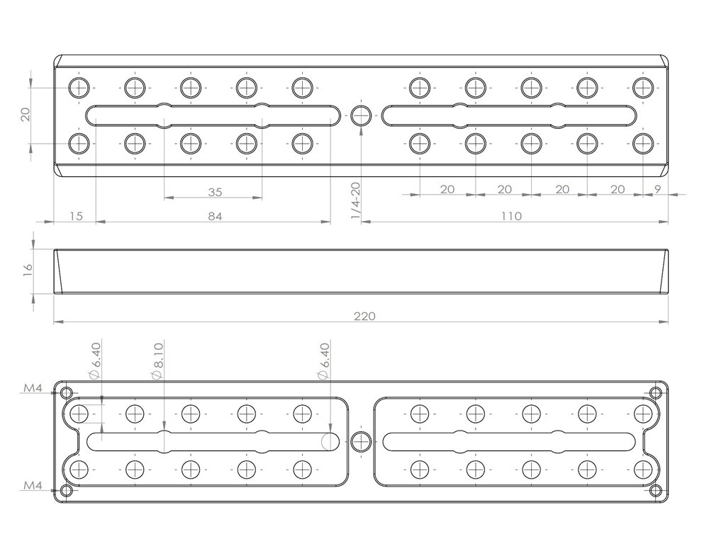 AU002-VIXEN規格 220自在アリガタ 20mmピッチ穴タイプ クリックポスト送料一律200円