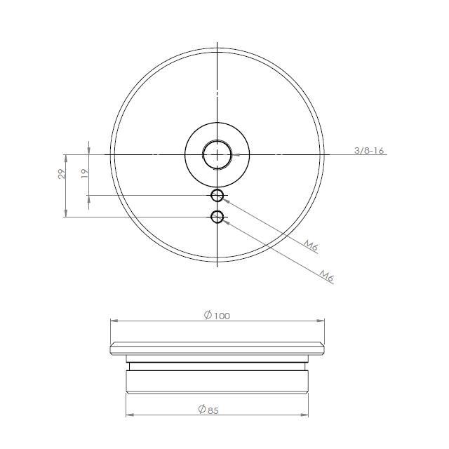 SD022-ジッツオ5型用トッププレート 互換品 取付直径85� クリックポスト送料一律200円