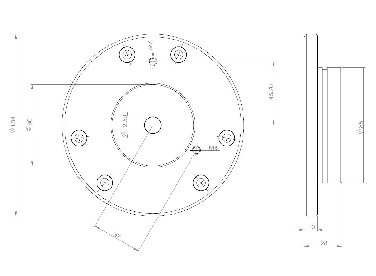 SD016-ジッツオ5型三脚対応 ビクセン取付直径Φ45�赤道儀用アダプター VIXEN-AP、SX、AX、新型GP2等使用可能 クリックポスト送料一律200円