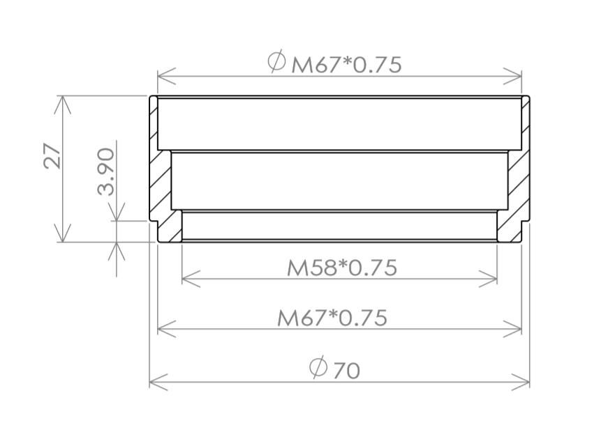 TB006-口径62mm焦点距離230mm 2枚玉アクロマートレンズ&セルユニット ゆうパック送料一律700円