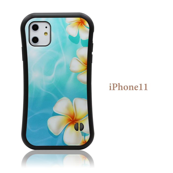 iPhoneケース 【 プルメリア 花 海 】 耐衝撃 バンパータイプ iPhone12,iPhone12mini,iPhone12Pro,iPhone12ProMAX,iPhoneSE2,SE第2世代,iPhone11,iPhone11Pro,iPhone11ProMAX,iPhoneXR,iPhoneXSMax,iPhoneXS,iPhoneX,iPhone8,iPhone7 ストラップホール付き