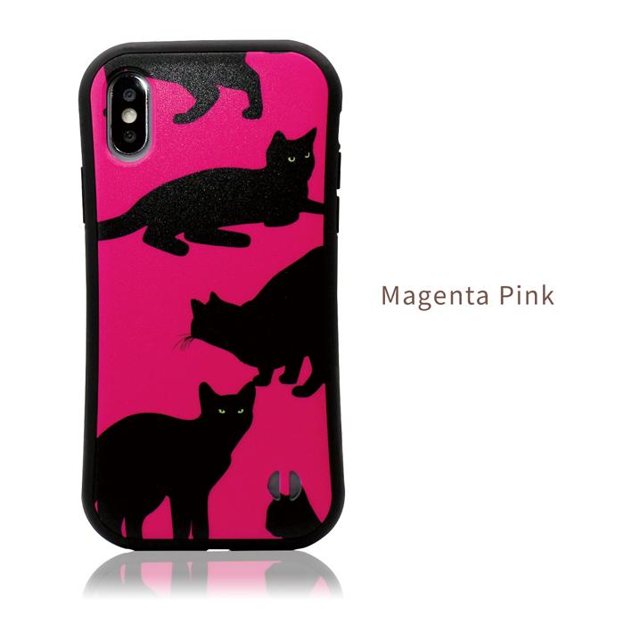 iPhoneケース 【 ビビットカラー 黒猫 】 耐衝撃 バンパータイプ iPhone12,iPhone12mini,iPhone12Pro,iPhone12ProMAX,iPhoneSE2,SE第2世代,iPhone11,iPhone11Pro,iPhone11ProMAX,iPhoneXR,iPhoneXSMax,iPhoneXS,iPhoneX,iPhone8,iPhone7 ストラップホール付き