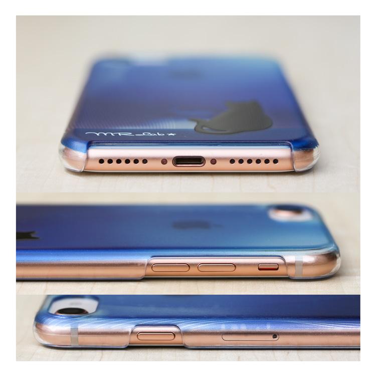 iPhone SE2 ( SE 第2世代 ) ケース 【 ブルー 黒猫 猫 ハードケース ハイブリットケース 】 iPhone11pro / iPhoneXS / iPhoneX / iPhoneSE ( 第2世代 )  / iPhone8 / iPhone7 / iPhone6s / iPhone6 / Pixel3 / Pixel3a アイフォン ピクセル