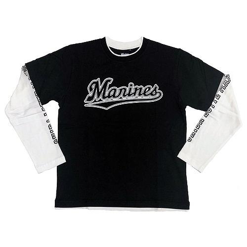 フェイクレイヤード L/S シャツ ブラック