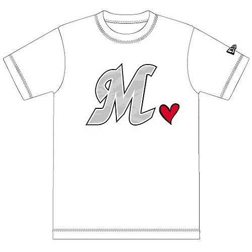 T-SHIRT MARINES BIG M HEART WHITE