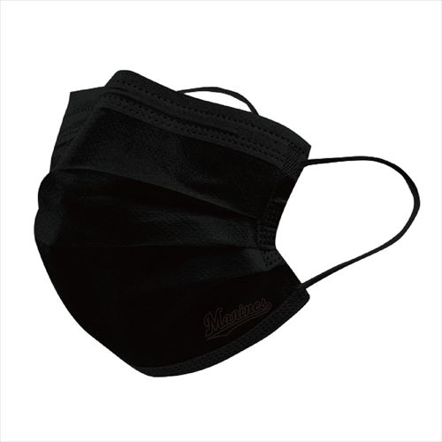 使い捨てマスク 不織布3層 ブラック(Marinesロゴ)